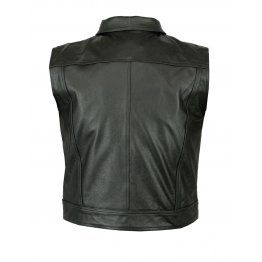 Mens Casual Motorbike Black Leather Waistcoat Vest