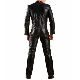 Mens Genuine Black Leather Bodysuit Jumpsuit