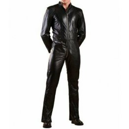Mens Genuine Black Leather Bodysuit Jumpsuit