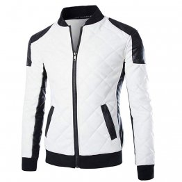 Mens Slim Fit Black and White Leather Baseball Bomber Jacket