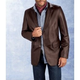 Mens Smart Fashion Genuine Real Brown Leather Blazer Coat