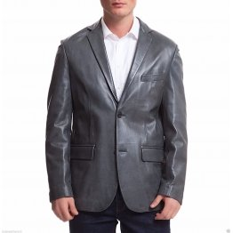 Mens Sports Two Button Navy Blue Leather Blazer Coat