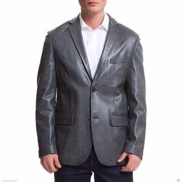 Mens Sports Two Button Blue Leather Blazer Jacket