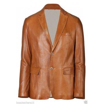 Mens Two Button Genuine Lambskin Brown Leather Blazer Coat