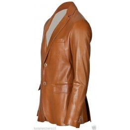 Mens Two Button Genuine Lambskin Brown Leather Blazer Jacket