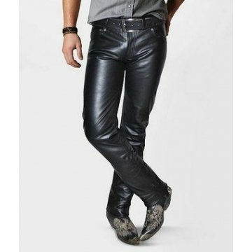 Mens Classic Style Custom Made Black Leather Pant
