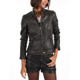 New Style Real Black Leather Jacket for Womens