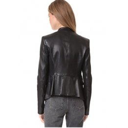 Peplum Style Natural Black Leather Coat for Women