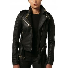 Quilted Lambskin Black Leather Biker Motorcycle Jacket for Women