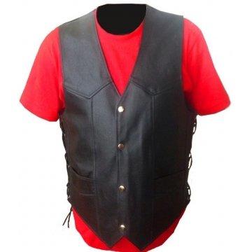 Side Laced Up Black Genuine Leather Biker Vest for Men
