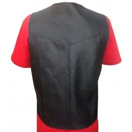 Side Laced Up Black Genuine Leather Biker Vest for Men