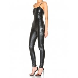 Simple Strappy Black Leather Jumpsuit Catsuit for Women