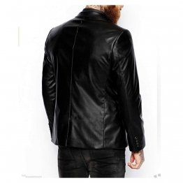 Mens Two Button Pure Lambskin Black Leather Blazer Coat