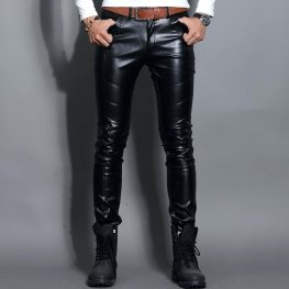 Skin Tight Black Leather Motorcycle Pant for Guys