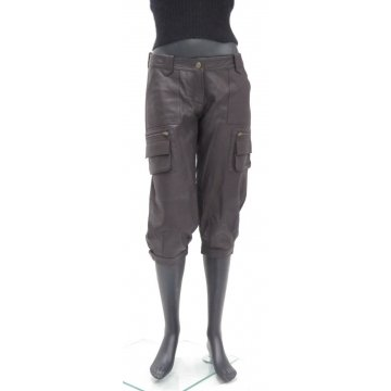 Stylish Lightweight Brown Leather Soft Cropped Capri Pant