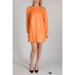 Stylish Long Sleeves Orange Leather Shift Dress for Women