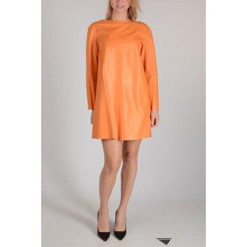 Stylish Long Sleeves Orange Leather Shift Dress for Women