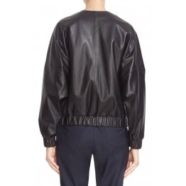 Stylish Natural Lambskin Black Leather Bomber Jacket for Womens