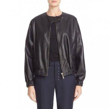 Stylish Natural Lambskin Black Leather Bomber Jacket for Womens