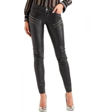 Stylish Slim Fit Real Black Leather Skinny Pant for Women