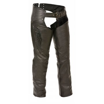 Stylish Wing Embroidery Pure Black Leather Chaps for Womens