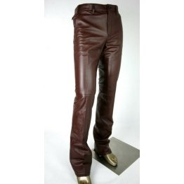 Stylish Fashion Mens Pure Brown Leather Pants Trouser