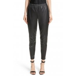 Trendy Elastic Tracking Black Leather Capri Pant For Women