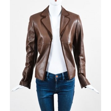 Vintage Brown Leather Blazer Outfit for Women