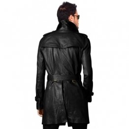 Vintage Style Long Black Leather Coat Mens
