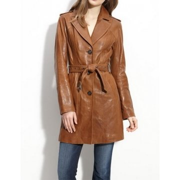 Women Natural Lambskin Brown Leather Long Trench style Coat