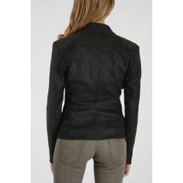 Women Real Black suede Leather Blazer Jacket Coat