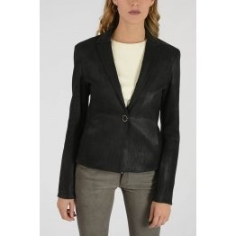 Women Real Black Lamb Leather Blazer Jacket Coat