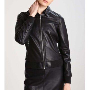 Women Slim Fit Stand COllar Black Leather Flight Bomber Jacket