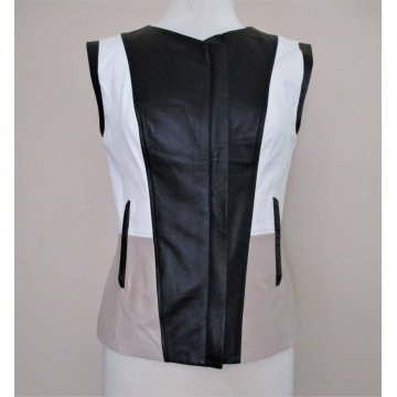 Women White Taupe Soft Black Leather Vest