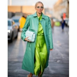 Women Street Fashion Real Leather Green Long Trench Coat