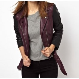 Girls Multicolor Genuine Lambskin Leather Purple With Black Sleeves Motorcycle Jacket