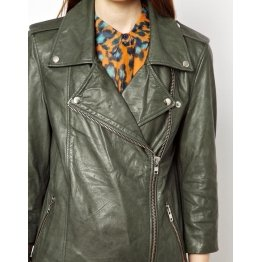 Girls Short Sleeve Classic Biker Style Genuine Sheepskin Leather Olive Green Motorcycle  Jacket