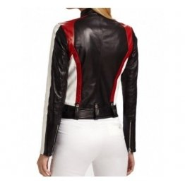 Ladies Multicolor Motorbike Style Real Sheepskin Black , White And Red Leather Biker Motorcycle Jacket