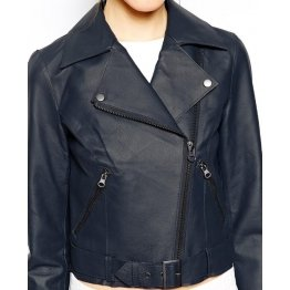 Womens Biker Style Genuine Sheepskin Leather Navy Blue Motorcycle Jacket