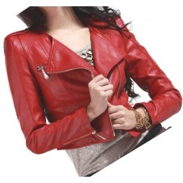Womens Cropped Moto Style Real Sheepskin Red Leather Biker Motorcycle Jacket
