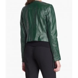 Womens Stunning Motorbike Style Real Goatskin Green Leather Motorcycle Jacket