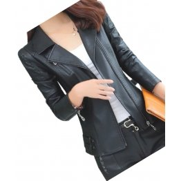 Womens Zipper Moto Original Sheepskin  Black Leather Motorcycle Biker Jacket