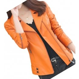 Womens Zipper Moto Original Sheepskin Leather Orange Motorcycle Biker Jacket