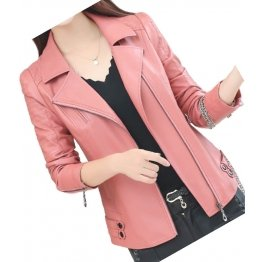 Womens Zipper Moto Pink Original Sheepskin Leather Motorcycle Biker Jacket