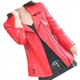 Womens Zipper Moto Original Sheepskin Red Leather Motorcycle Biker Jacket