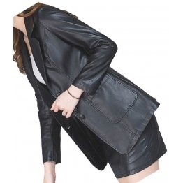 Womens Amazing Look Real Lambskin Black Leather Blazer Coat