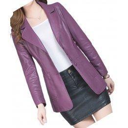 Womens Amazing Look Real Lambskin Purple Leather Blazer Coat
