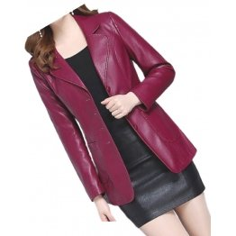 Womens Amazing Look Real Lambskin Red Leather Blazer Coat