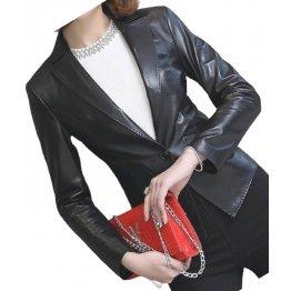 Womens Awesome Look Real Sheepskin Black Leather Blazer Coat