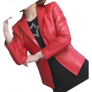 Womens Awesome Look Real Sheepskin Red Leather Blazer Coat